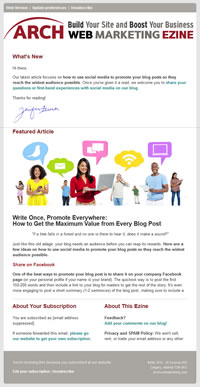 Arch Web Marketing email template